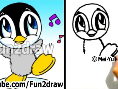 Easy Things to Draw - How to Draw a Cartoon Baby Penguin - Cute Drawings Art Lessons - Fun2draw