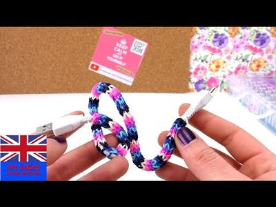 Easy Tutorial: Loom Bands Cover For Charger Cable - DIY Rainbow Loom English