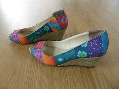 Fabric paint decorated shoes