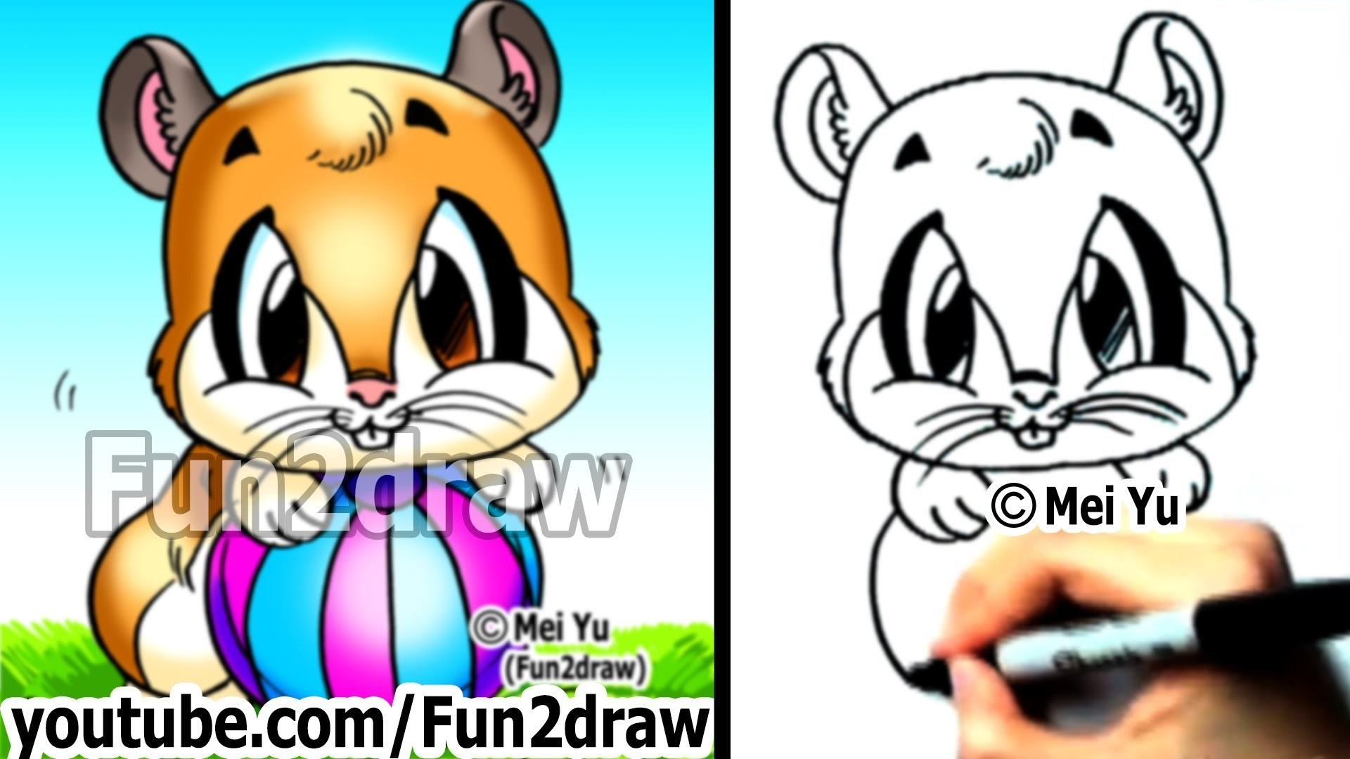 How to Draw a Cartoon Hamster by Mei Yu (Fun2draw) - Easy Drawings - Learn to Draw