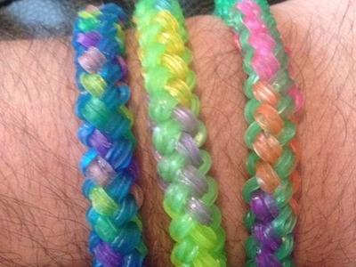 How to make a Double Braid Loom Band Bracelet(rainbow loom)