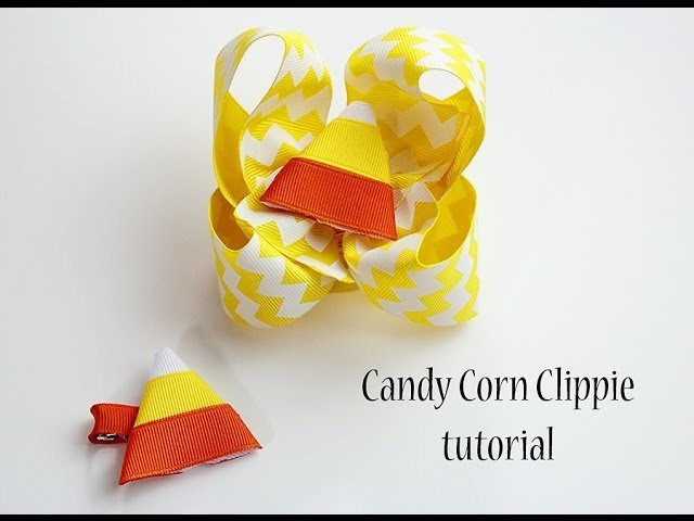 Pintober #11 DIY Candy Corn Clippie (how to make candy corn hair bow for Halloween)