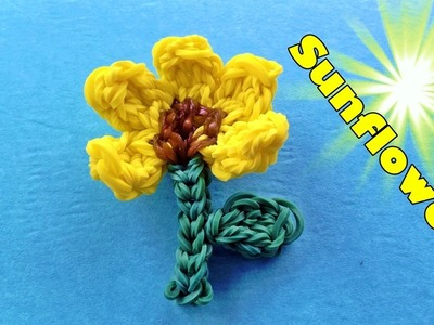 Rainbow Loom: SUNFLOWER Charm (by my 6 year old daughter) Design. Tutorial