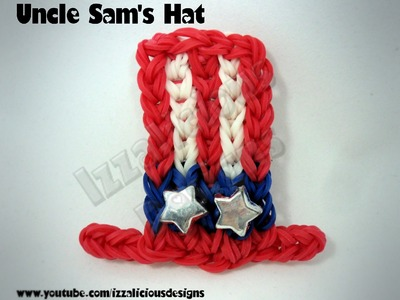 Rainbow Loom Uncle Sam's Top Hat Charm -4th July.Independence Day - Gomitas