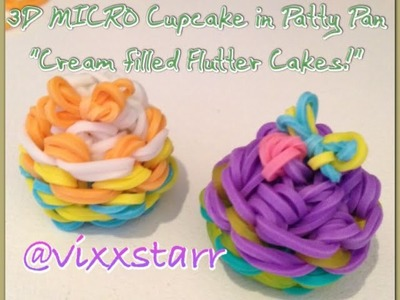 "3D MICRO ""Cream filled Flutter Cake"" Charm (Cupcake in Patty Pan Rainbow Loom Tutorial)"