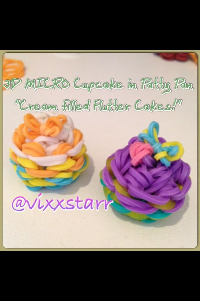 """3D MICRO """"Cream filled Flutter Cake"""" Charm (Cupcake in Patty Pan Rainbow Loom Tutorial)"""