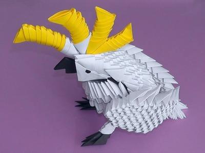 3D origami cockatoo parrot tutorial (instruction)