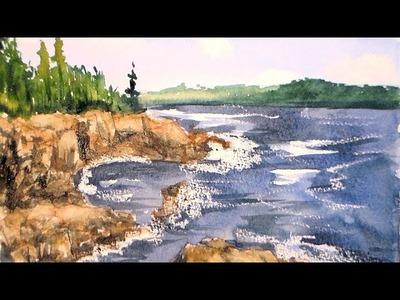 Coastal landscape one brush watercolor tutorail