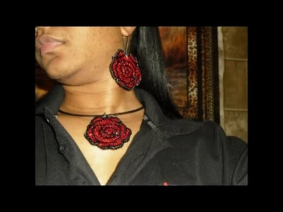 Crafty Hands: Make a Rose Charm out of Wood, Rose Earrings out of Fabric With Bling