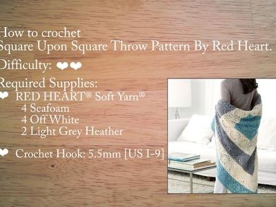 Crochet Along Square Blanket.Throw