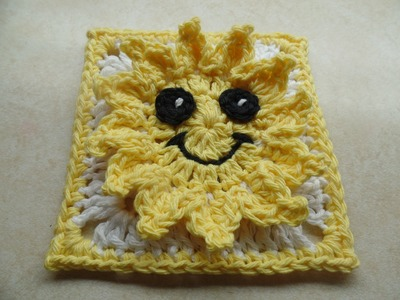 DIY #Crochet Sun Granny Square #TUTORIAL
