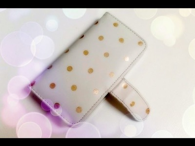 DIY Gold Polka Dotted wallet phone case using Nail Polish - Natalie's Creations