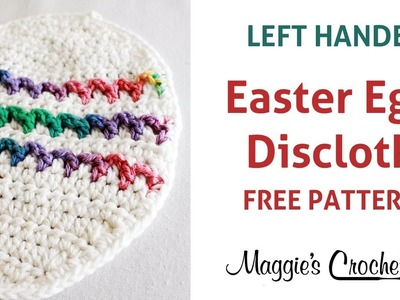 Easter Egg Dishcloth Free Crochet Pattern - Left Handed