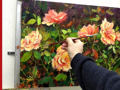 Fast Motion - How To Quickly Create Sunlit Rose Leaves by Professional Artist Bill Inman