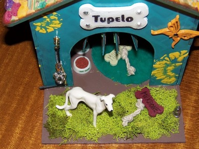 """""""Finished"""" Altered Dog House with Paper Bag Mini Album Roof, a SaCrafters DT Project"""