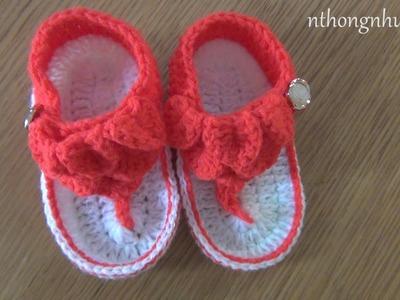 How to Crochet Crocodile Baby Sandals (Engsub)