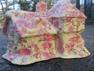 How to  Decoupage a Ceramic House Shabby Style
