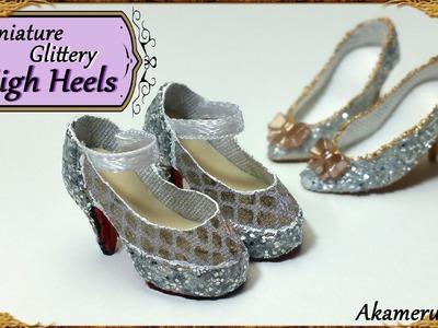 Miniature Glittery High Heels - Polymer Clay.Fabric Tutorial
