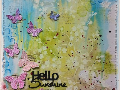 Mixed Media Canvas using Rubber Dance Stamps and Gelatos Tutorial