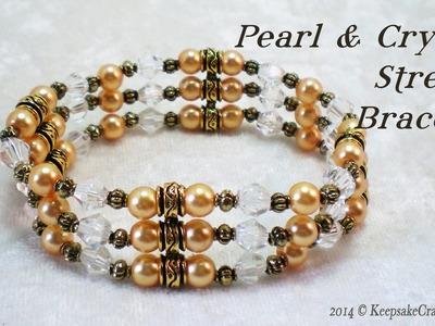 Pearl & Crystal Stretch Bracelet Tutorial