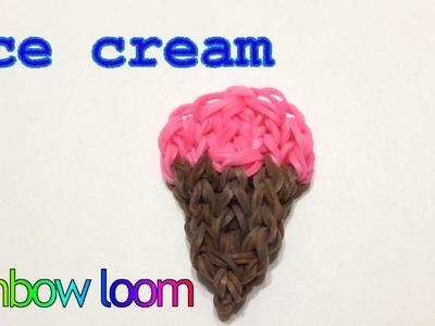 Rainbow loom Ice Cream Cone charm   How to make loom bands ijsje   easy