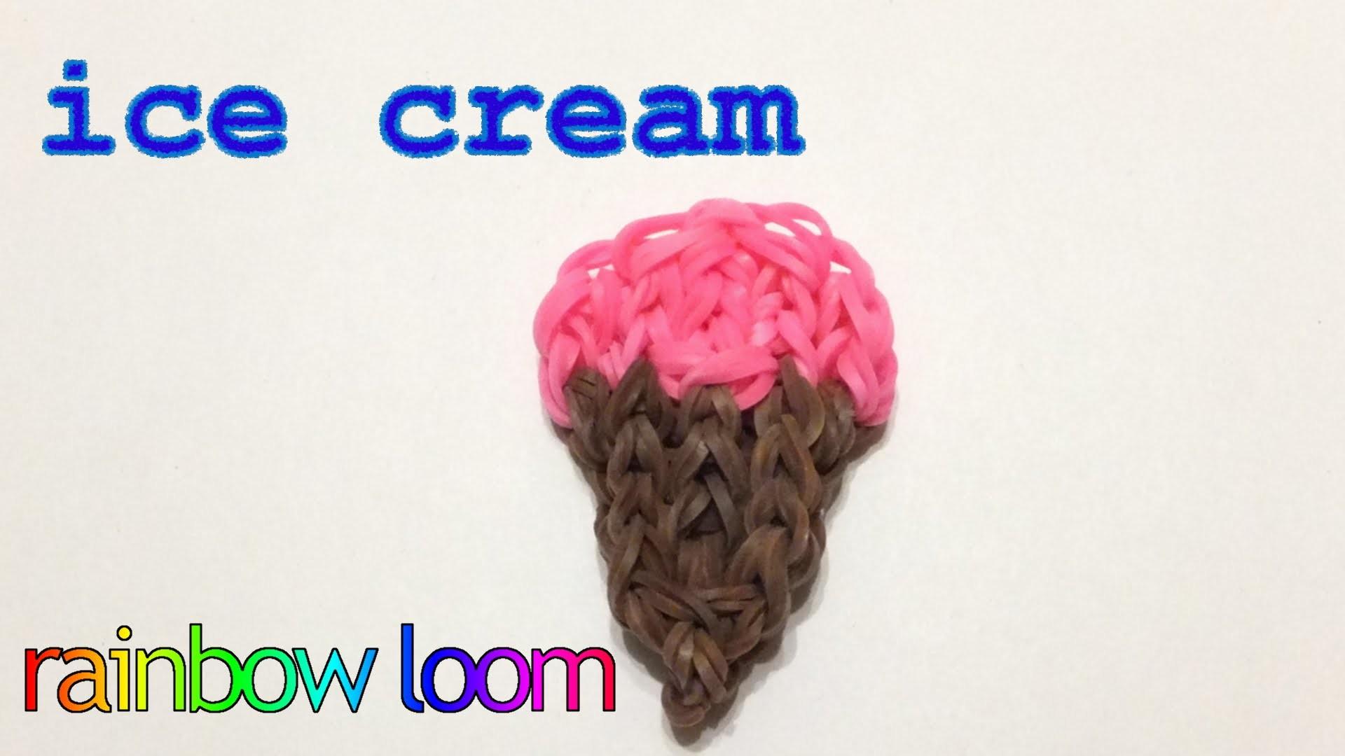 Rainbow loom Ice Cream Cone charm | How to make loom bands ijsje | easy