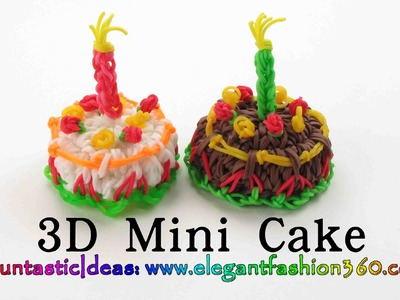 Rainbow Loom Mini Cake 3D Charms - How to loom bands tutorial