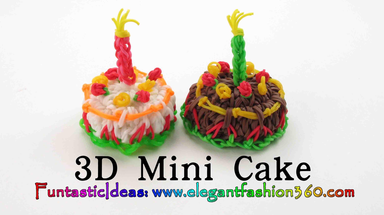 Rainbow Loom Mini Cake 3D Charms - How to loom bands tutorial