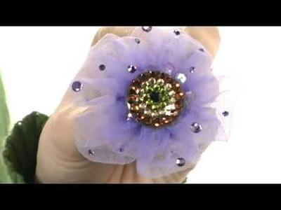 Tarina Tarantino Aunt Vi Tulle Flower and Crystal Mandala Mod Ring   7660268