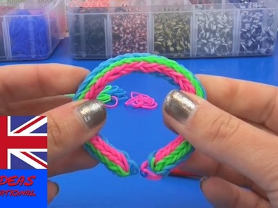 Tutorial tripple cross fishtail bracelet with loom bands - How to make a rainbow loom triple