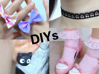 Back to School: 4 DIY Cute Accessories | DIY Cat Earings | Frilly Socks |  Bow Ring | Choker