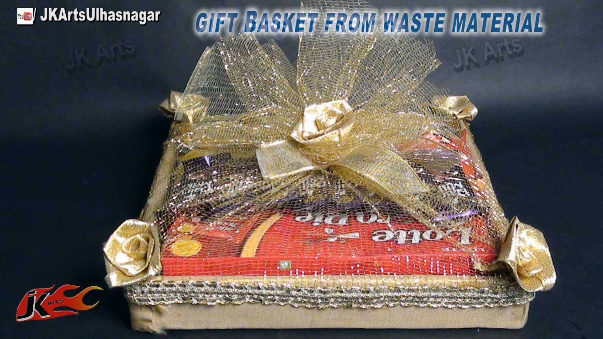 DIY Gift Basket from Waste Material   How To Make   JK Arts 657