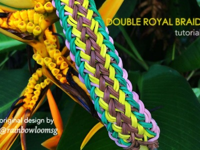 DOUBLE ROYAL BRAID Rainbow Loom bracelet tutorial