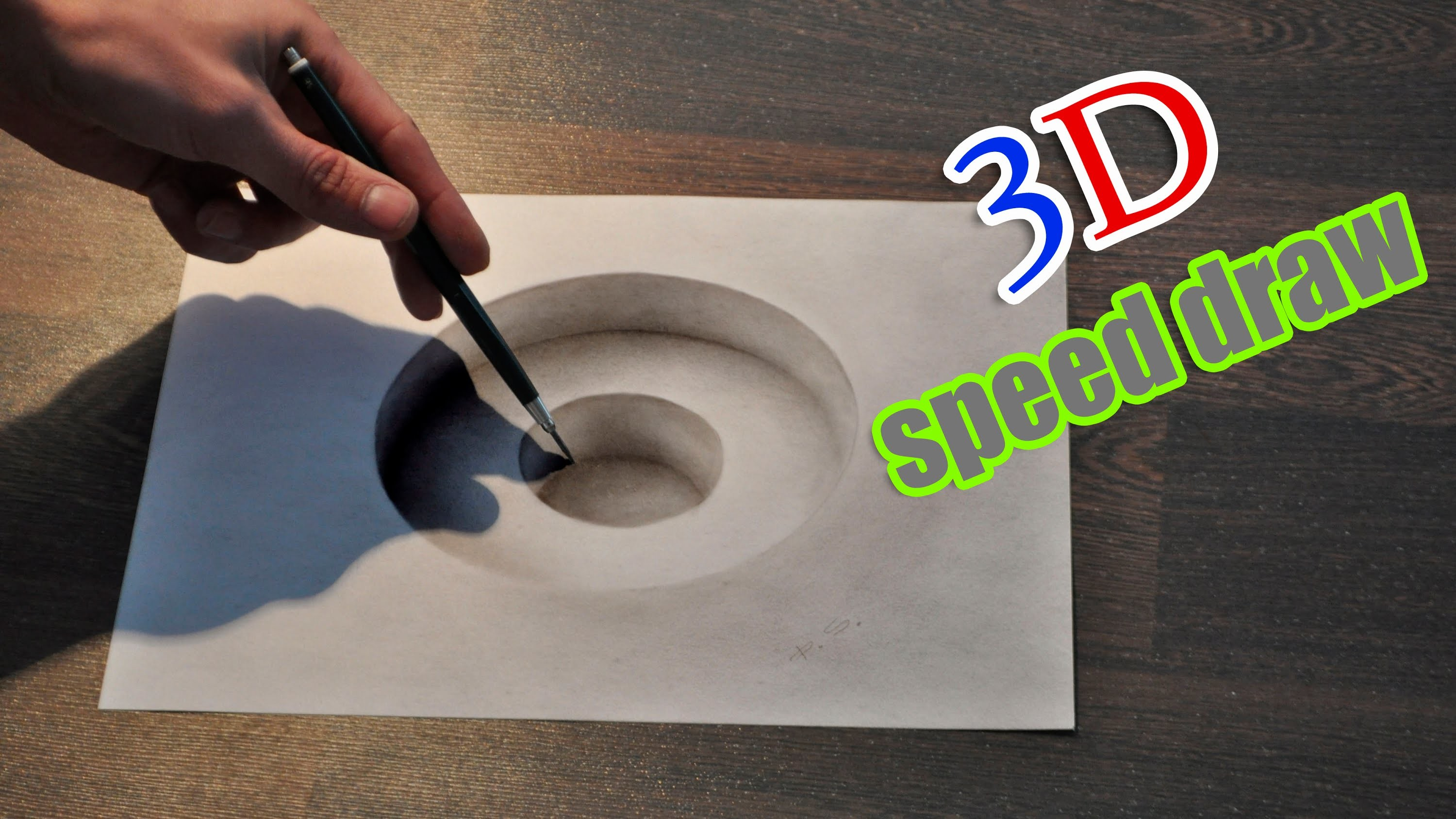 Drawing 3D hole. Illusion anamorphic painting