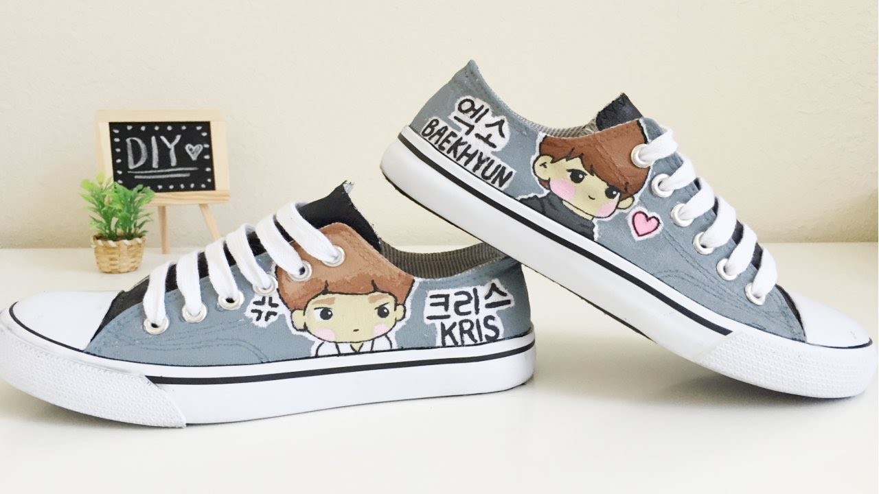 EXO-k Canvas Shoes painting tutorial