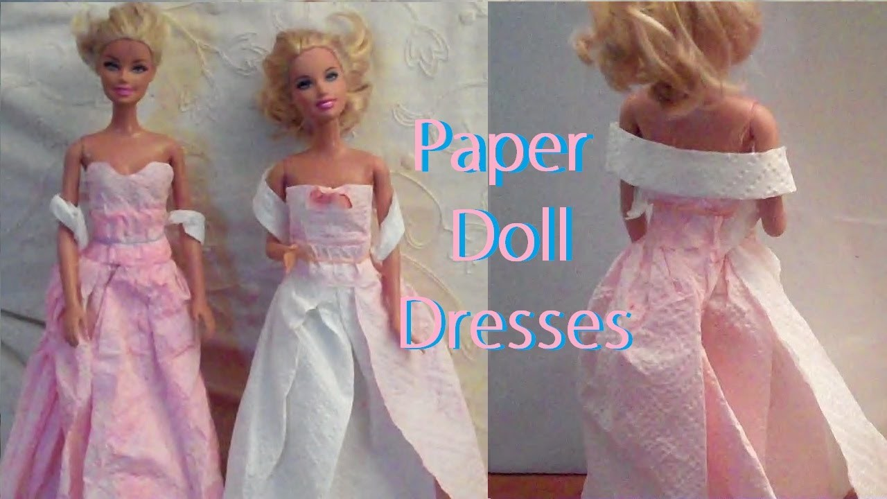 How to Make, Barbie Doll Paper Dress - Doll Clothes (Very Easy)