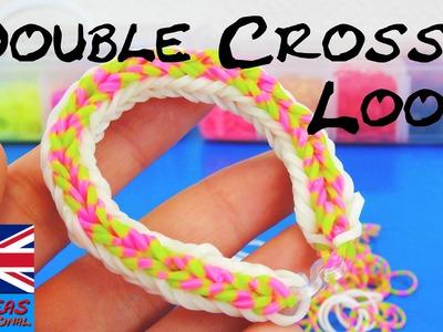 Loom bands Double Cross FISHTAIL Bracelet Rainbow Loom tutorial How To make bracelet with fork