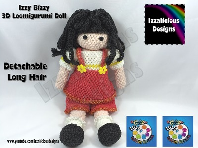 Loomigurumi Izzy Bizzy Doll - Hair Extensions - crochet hook only using Rainbow Loom Bands