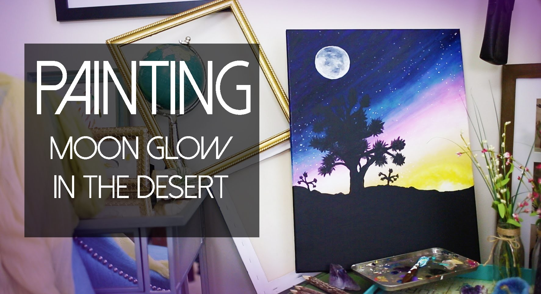 PAINTING Full Moon in the Joshua Tree Park | ANNEORSHINE