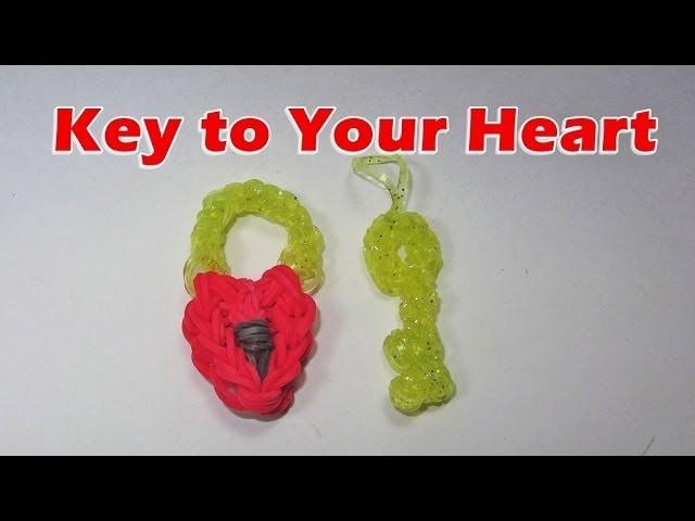Rainbow Loom: Heart Lock and Key Charm (Valentine's Day, Love, Boyfriend, Girlfriend)