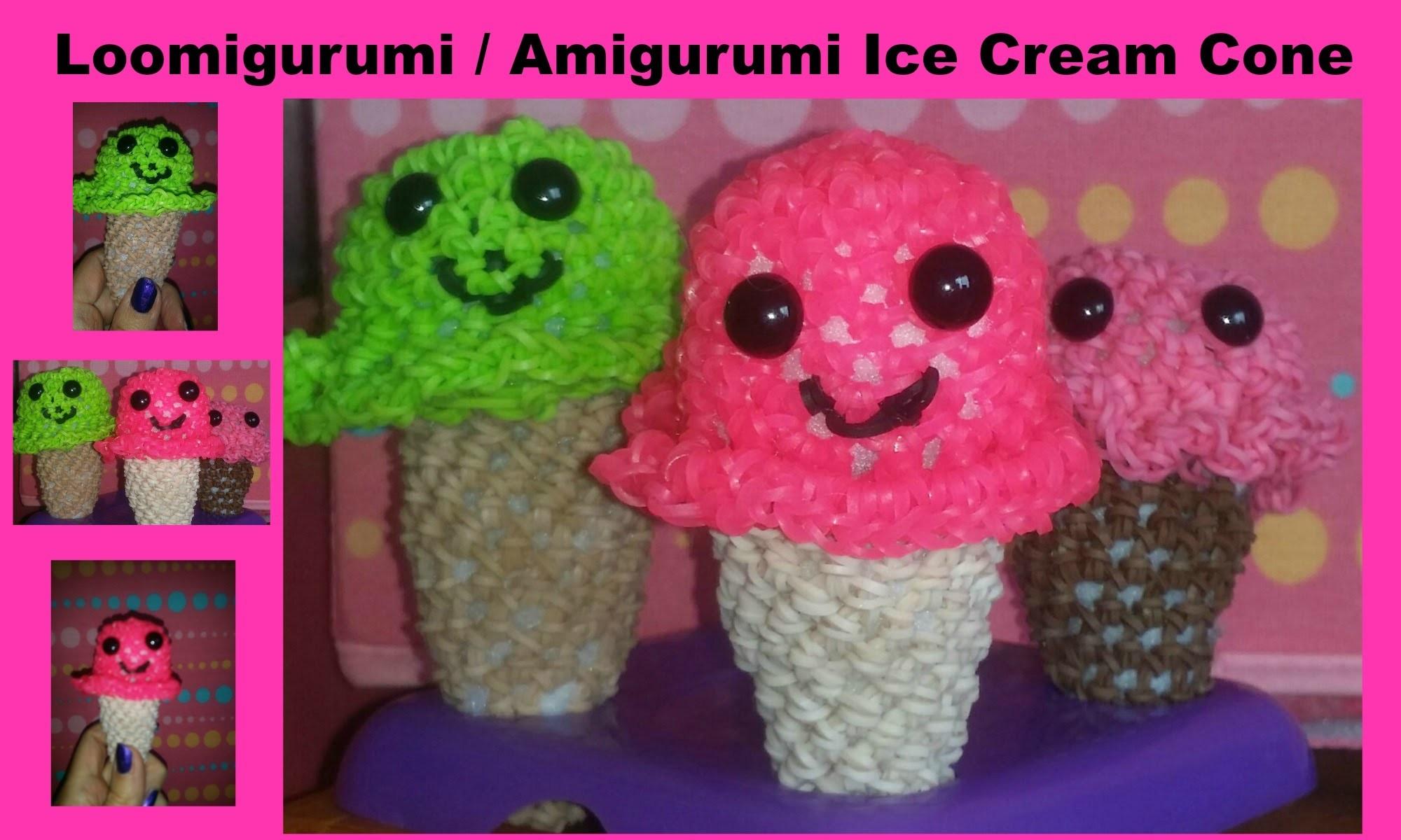 RAINBOW LOOM ICE CREAM CONE AMIGURUMI LOOMIGURUMI LOOMLESS
