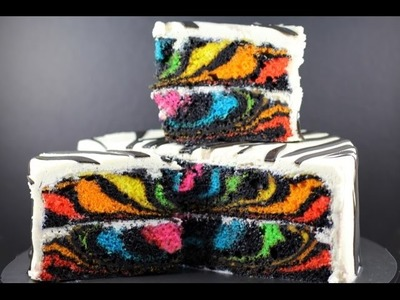 RAINBOW ZEBRA CAKE | How to Make a Surprise Inside Zebra Cake | My Cupcake Addiction