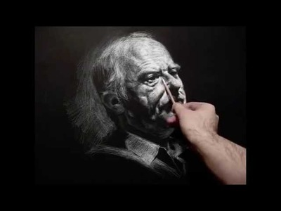 """""""Richard"""" 140 minutes live white chalk pencil on black paper crosshatching drawing demo by Zimou Tan"""