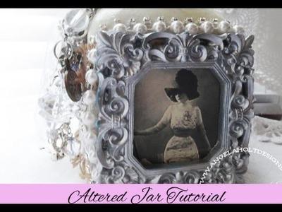 Altered Shabby Chic Jar featuring Burlapfabric.com
