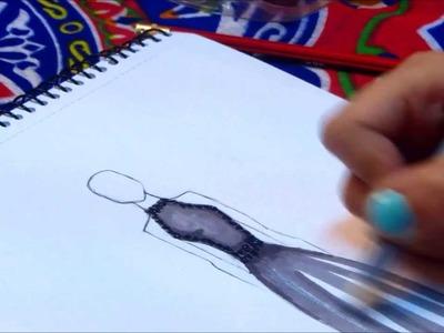 Chiffon Dress Fashion Sketch | @SarahAlAssiri