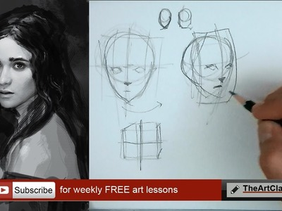 How to draw face basic proportions (part 1 of 3)