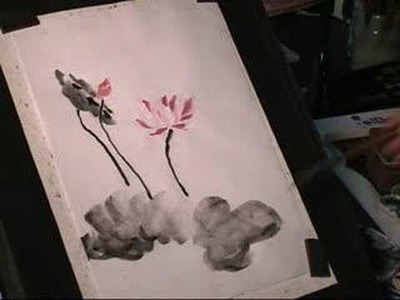 How to draw Lotus Flower sumi-e Chinese Painting #2