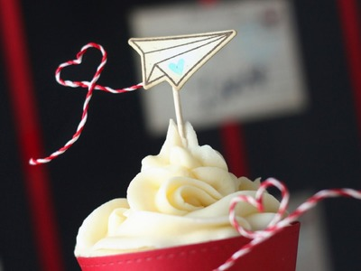 How to make a cupcake topper out of twine + stamps