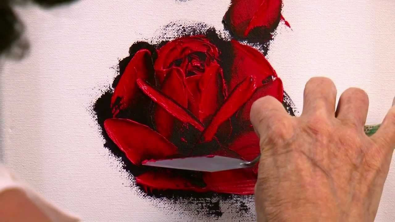 How to Paint a Red Rose in Oil with a Palette Knife in only 10 minutes.