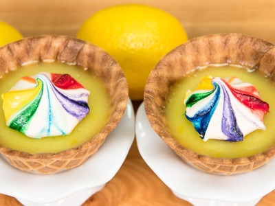 Mini Lemon Pies with Rainbow Meringue Cookies from Cookies Cupcakes and Cardio